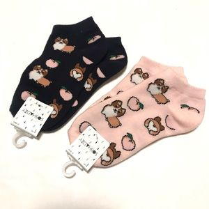 Forever 21 Socks Sloth Print Ankle Two Pairs NWT